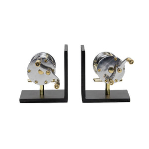 Fishing Reel Bookends Aluminum, Brass, Iron-Rustic Deco Incorporated