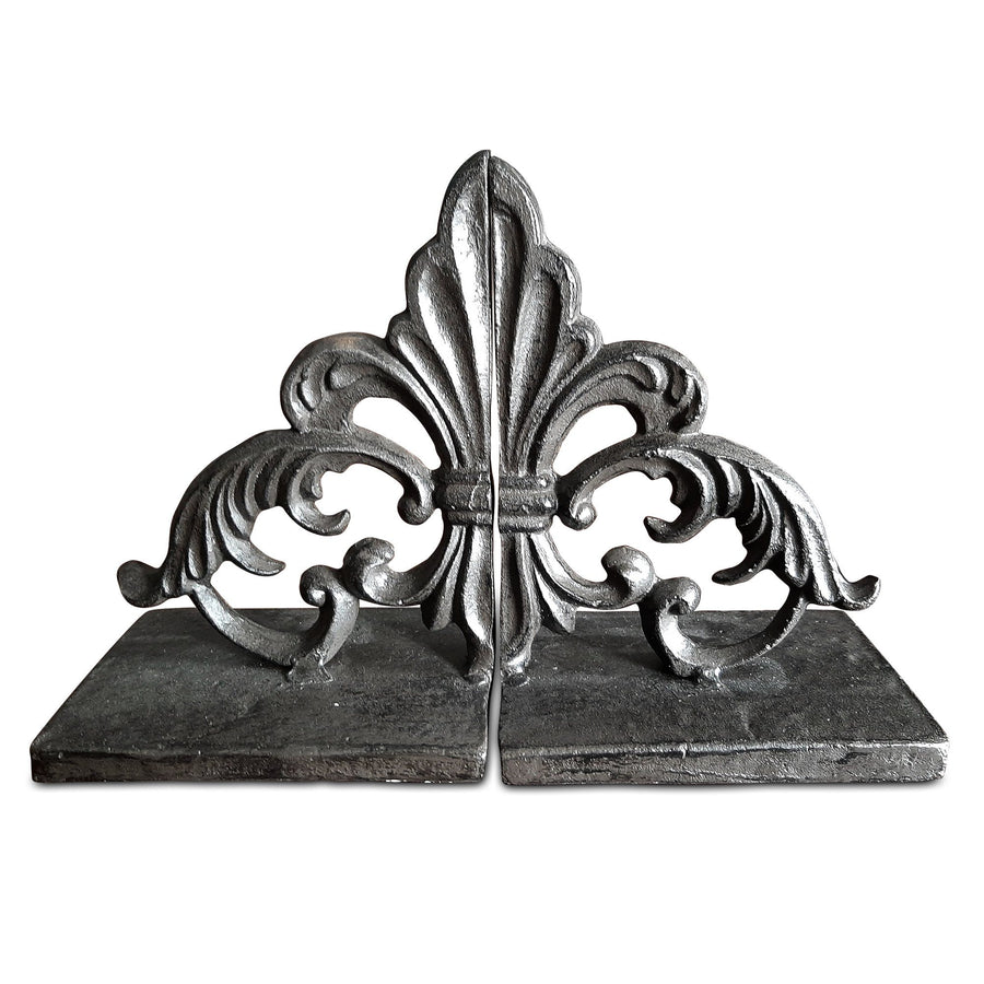 Fleur De Lis Cast Iron Bookends - French Industrial Metal Decor - Rustic Deco Incorporated