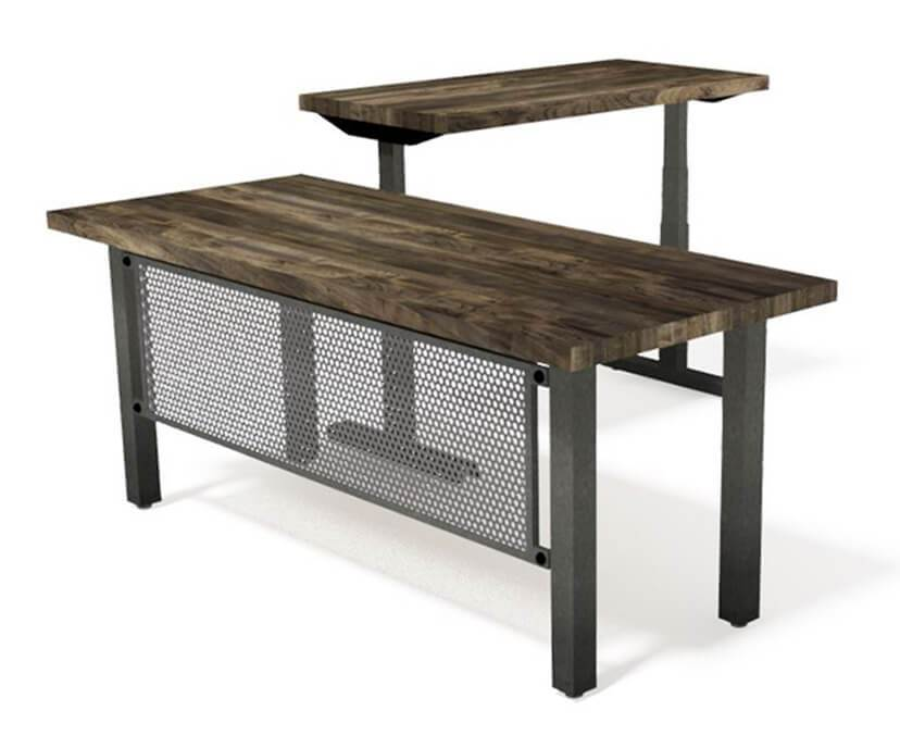 Fortis Modern Industrial Desk - Steel Base - Adjustable Height - L Shape-Desk-Rustic Deco Incorporated