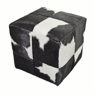 "Genuine Brazilian Cowhide 18"" Cube Seat or Foot Stool - Rustic Deco Incorporated"