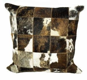 "Genuine Brazilian Cowhide Patchwork Pillow 20"" square or 12x20"" Lumbar Pillow - Rustic Deco Incorporated"