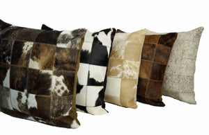 "Genuine Brazilian Cowhide Patchwork Pillow 20"" square or 12x20"" Lumbar Pillow-Rustic Deco Incorporated"