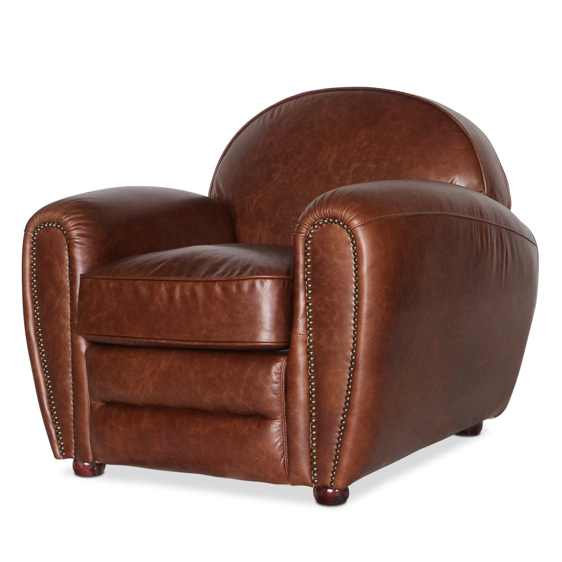 Genuine Brown Leather Club Chair - Cigar Lounge Armchair-Rustic Deco Incorporated