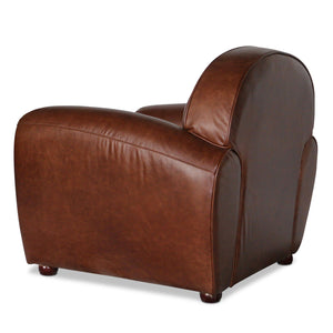 Genuine Brown Leather Club Chair - Rustic Deco Incorporated