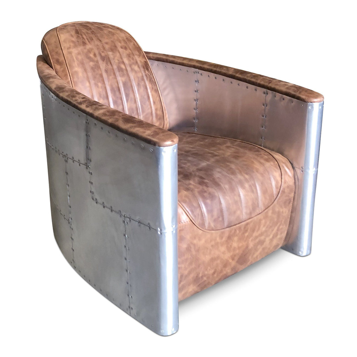 Aviator Bullet Chair - Genuine Leather - Modern Swivel Base Armchair-Rustic Deco Incorporated