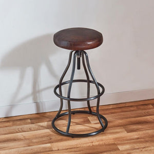 Gorman Bar Stool Leather and Iron Adjustable Bar Stool - Rustic Deco Incorporated
