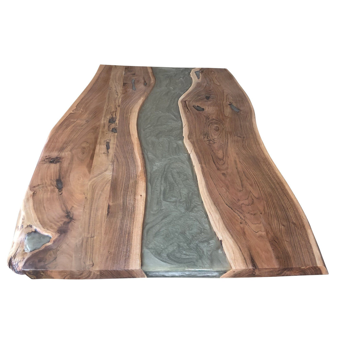 "Grey Epoxy Dining Table 71"" Live Edge DIY Rustic Deco Incorporated"