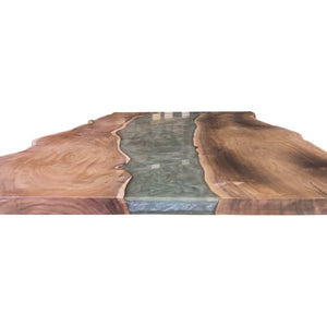 "Grey Epoxy Dining Table 79"" Live Edge DIY Rustic Deco Incorporated"