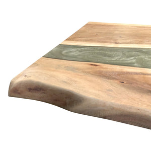Grey Epoxy Solid Wood Acacia Coffee Table Top Coffee Table Rustic Deco