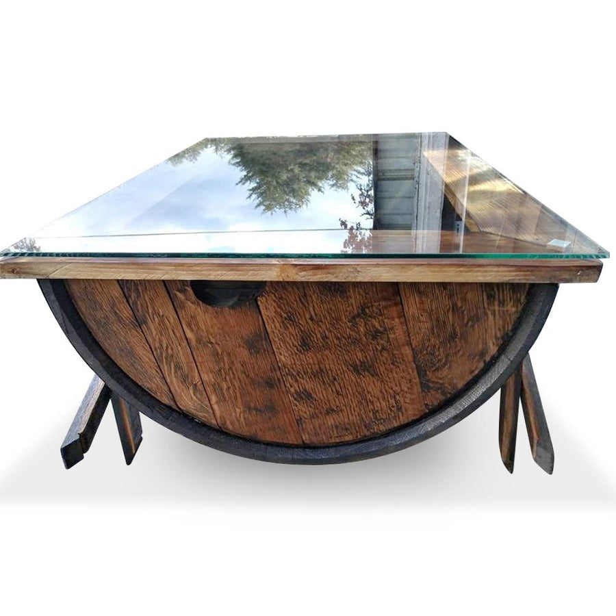 Hand Crafted Whiskey Barrel Coffee Table w/Glass Top Coffee Table Blood Hound Wood Signs