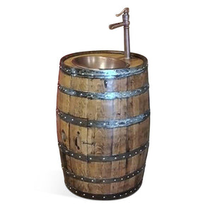 "Hand Crafted Whiskey Barrel - Dark Walnut Stain, Copper Oval Sink with 13"" Faucet Vanity Blood Hound Wood SIgns"