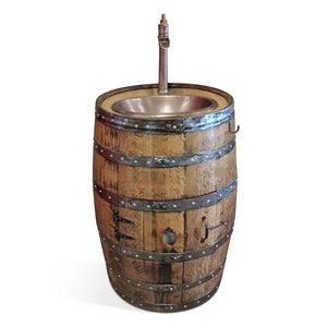 "Hand Crafted Whiskey Barrel - Natural Stain, Copper Oval Sink with 13"" Faucet Vanity Blood Hound Wood SIgns"