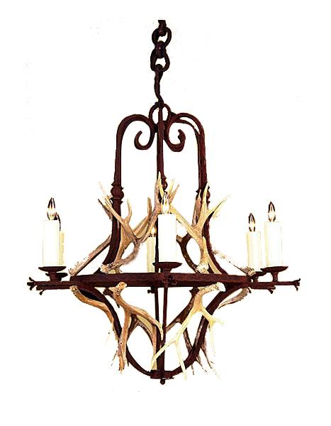 Hand Forged Iron Banister Chandelier with Real Antlers - Lodge or Cabin - Rustic Deco Incorporated