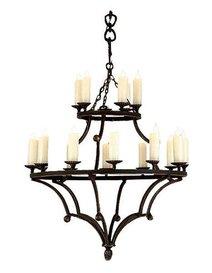 "Hand Forged Iron Chandelier - Murray Ball - 34"" and 42"" Diameter - Rustic Deco Incorporated"