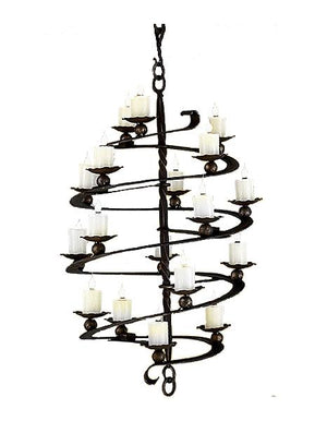 Unique Hand Forged Iron Spiral Chandelier - Custom Handcrafted USA - 3 Sizes - Rustic Deco Incorporated