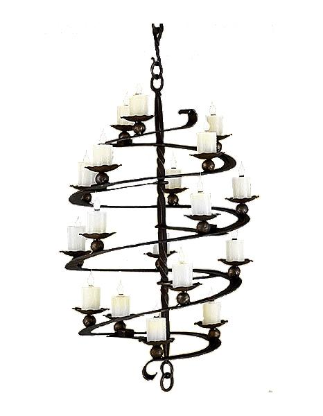 Unique Hand Forged Iron Spiral Chandelier - Custom Handcrafted USA - 3 Sizes-Rustic Deco Incorporated