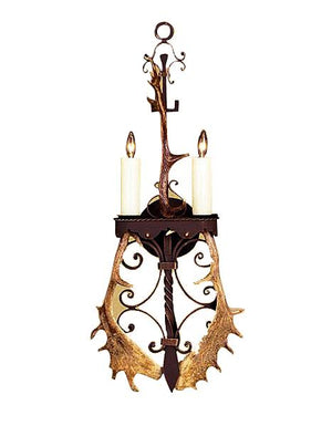 Hand Forged Ornate Wall Sconce w. Real Antlers - Western - Lodge or Cabin - Rustic Deco Incorporated