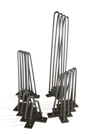 "Heavy Duty 2 Rod Hairpin Legs 1/2"" Thick Carbon Steel - 6"" 12"" 16"" and 28"" - Set of 4 - Rustic Deco Incorporated"