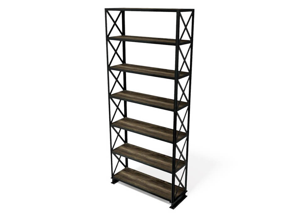Helvetica Modern Industrial Bookcase - Steel Shelving Unit - Wood Shelves-Bookcase-Rustic Deco Incorporated