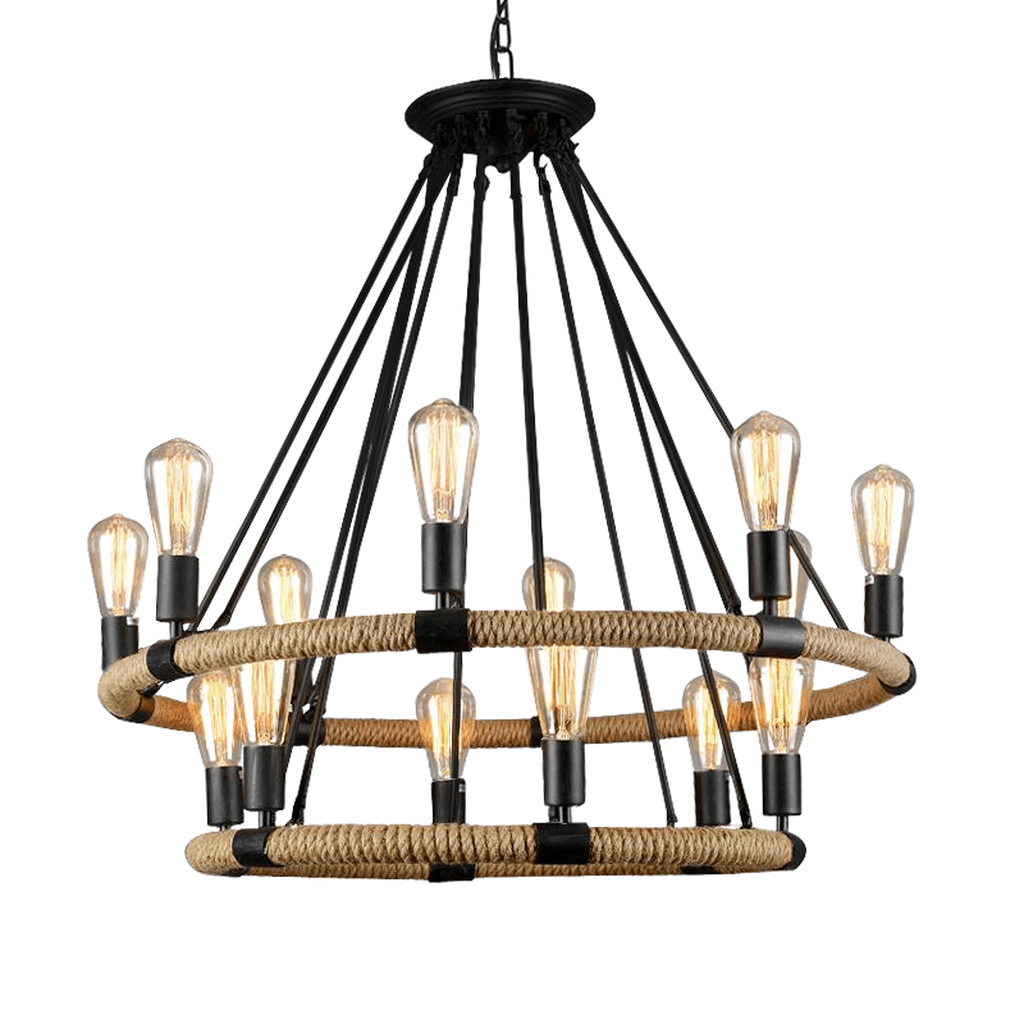"Hemp Rope and Black Iron Industrial Chandelier - 33"" Wide - 14 Lights - Rustic Deco Incorporated"