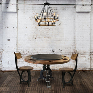 "Hemp Rope and Black Iron Industrial Chandelier - 33"" Wide - 14 Lights-Rustic Deco Incorporated"