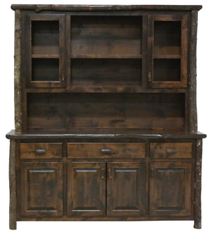 Hickory 75-inch Log Buffet & Hutch - with Shelving on Top Portion - Standard Finish - Rustic Deco Incorporated