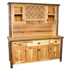 "Large Real Hickory Log Buffet & Hutch - with Wine Rack - 75""-Rustic Deco Incorporated"
