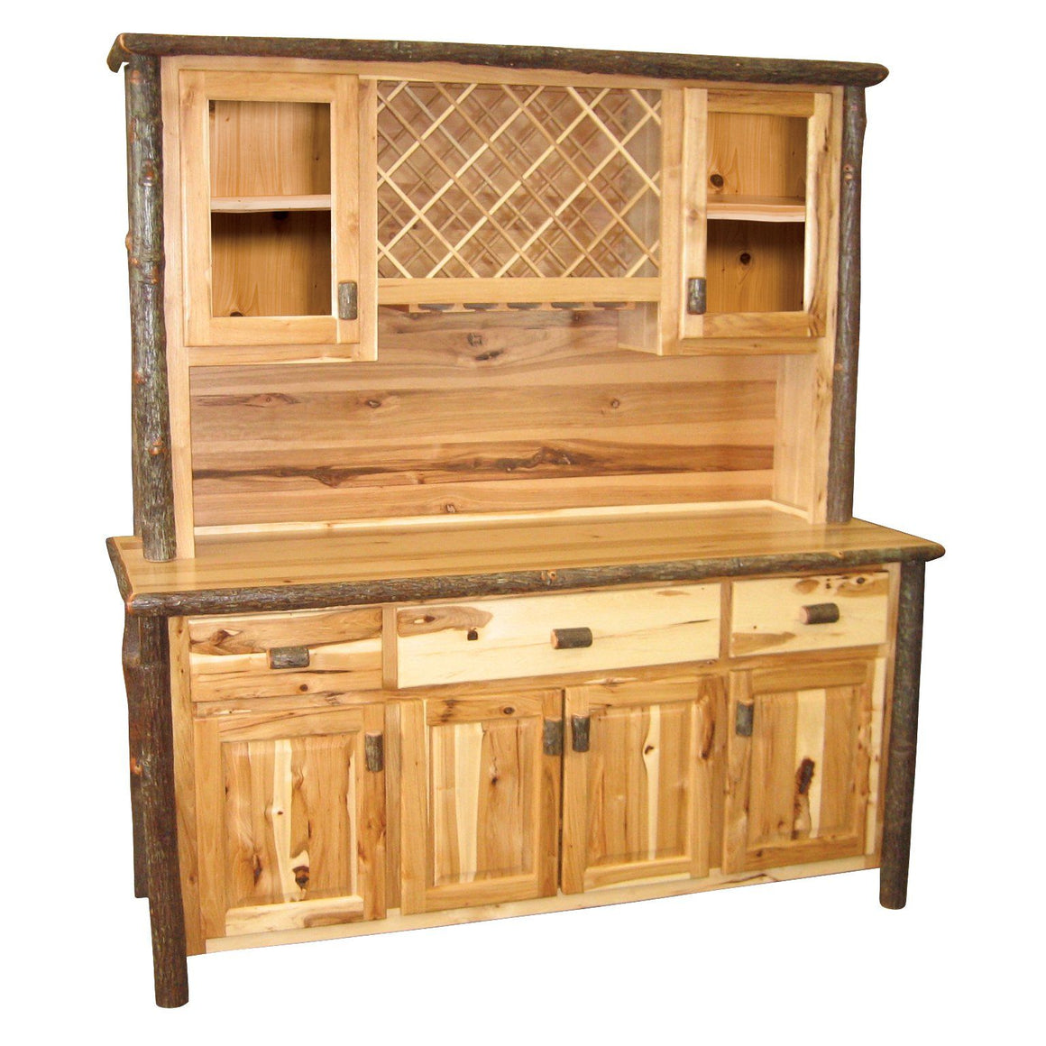 "Large Real Hickory Log Buffet & Hutch - with Wine Rack - 75"" - Rustic Deco Incorporated"