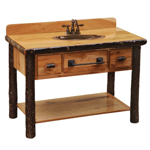 Hickory Freestanding Open Vanity with Shelf - Two Drawers - Slab Top Glass Finish - Rustic Deco Incorporated