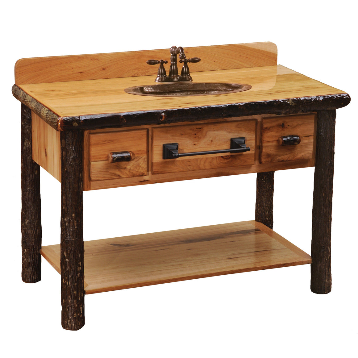 Hickory Freestanding Open Vanity with Shelf and Two Drawers - with Slab Style Top with Liquid Glass Finish - Rustic Deco Incorporated