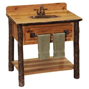 Hickory Freestanding Open Vanity with Shelf - with Slab Style Top with Liquid Glass Finish - Rustic Deco Incorporated