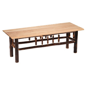 Hickory Log Bench - 48-60-72-inch - Wood seat - Standard Finish-Rustic Deco Incorporated