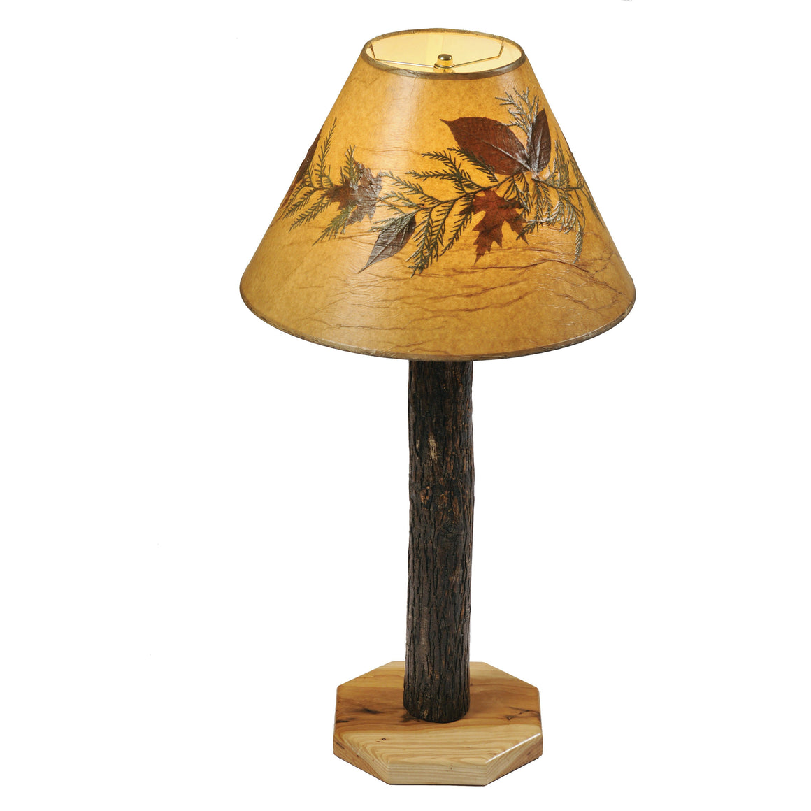 Authentic Hickory Log Buffet Table Lamp - Handcrafted USA-Rustic Deco Incorporated