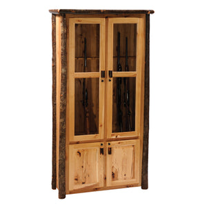 Hickory Log Eight Gun Cabinet - Standard Finish - Rustic Deco Incorporated