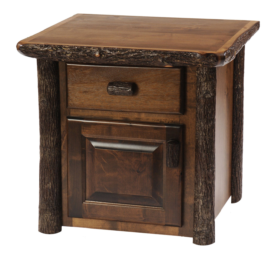 Hickory Log Enclosed End Accent Table - Hand Peeled - Custom Made USA-Rustic Deco Incorporated