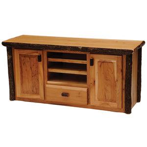 Hickory Log Entertainment Center Console - Standard Finish-Rustic Deco Incorporated
