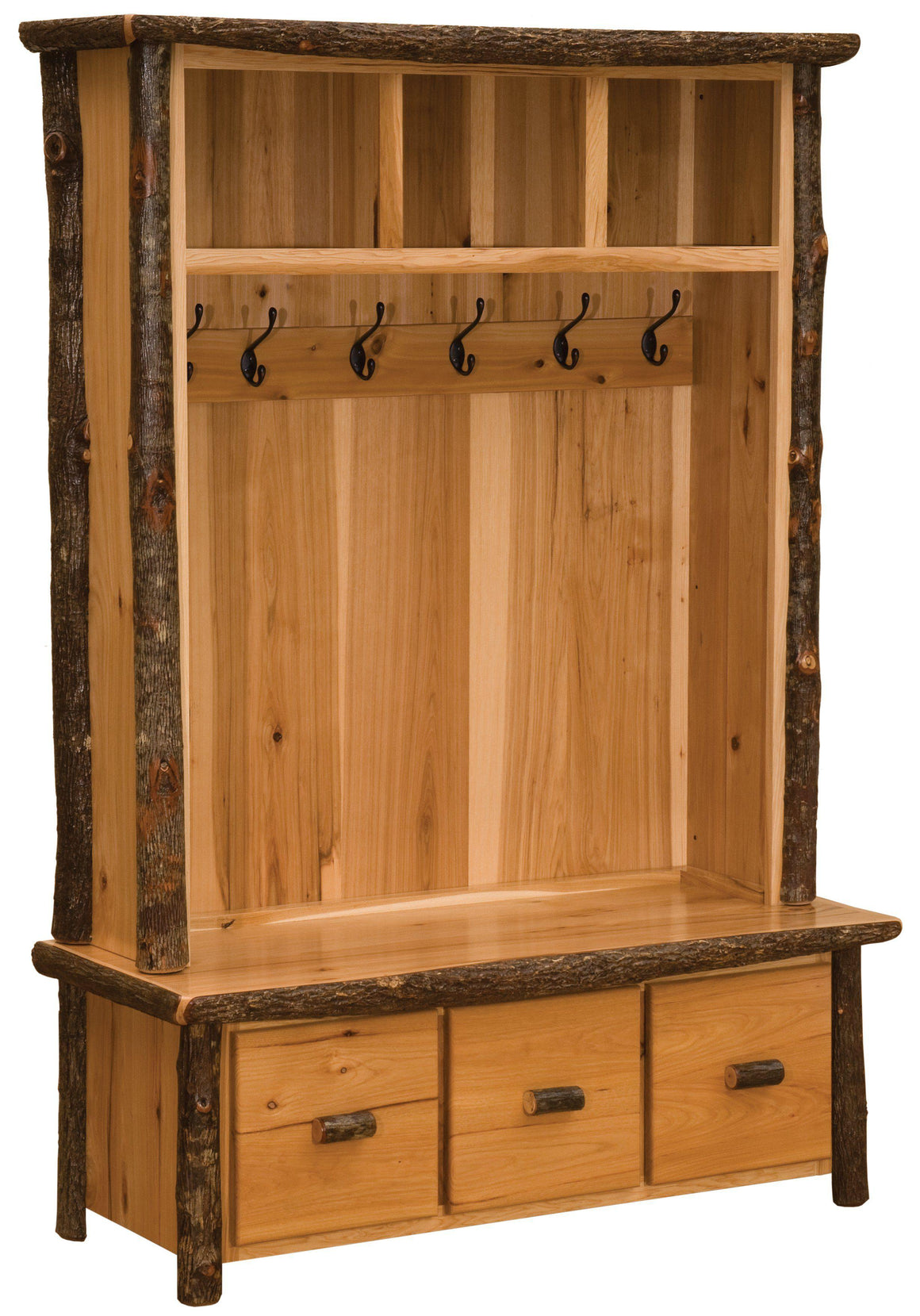 Hickory Log Entry Locker Unit - Mud Room Coat Rack Standard Finish-Rustic Deco Incorporated