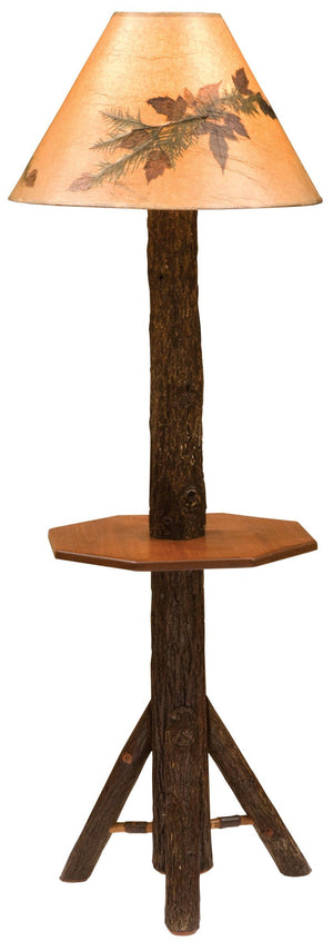 Hickory Log Floor Lamp with Shelf (without shade)-Rustic Deco Incorporated