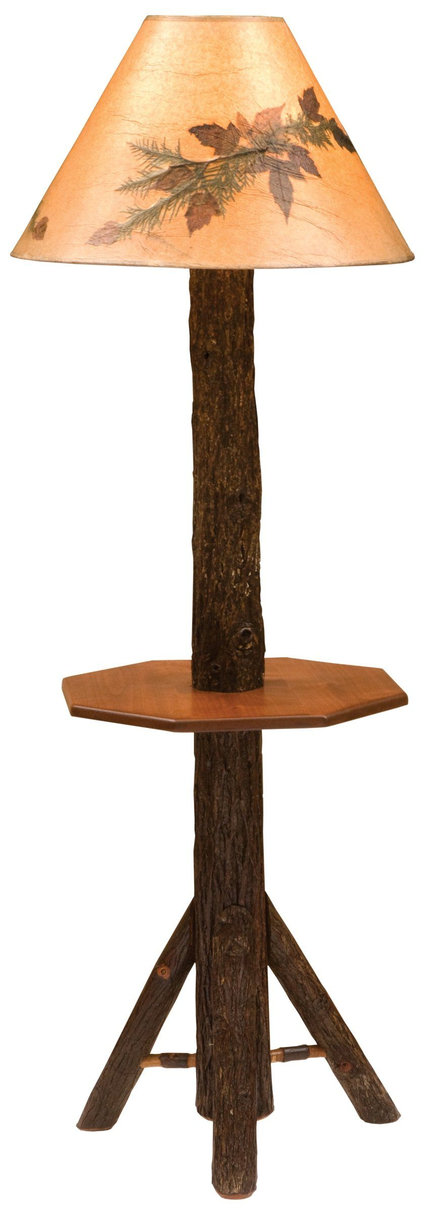 Hickory Log Floor Lamp with Shelf (without shade) - Rustic Deco Incorporated