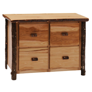 Hickory Log Four Drawer File Cabinet - Standard Finish-Rustic Deco Incorporated