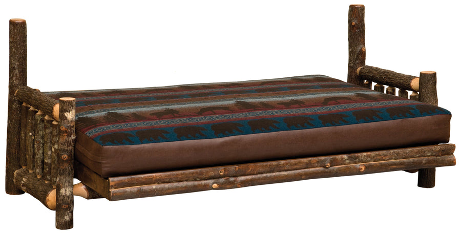 Hickory Log Futon with Inner-Spring Mattress - Natural Hickory - Rustic Deco Incorporated