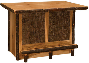 Hickory Log Home Bar - 5.5-foot -Cabin - Western - Liquid Glass Finish - Rustic Deco Incorporated