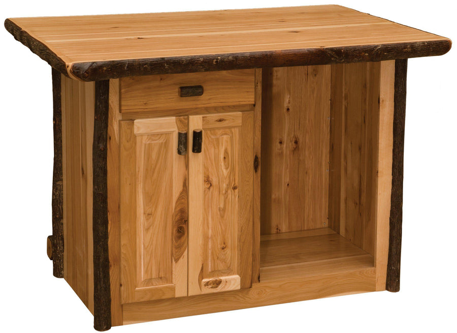 Hickory Log Home Bar - 5.5-foot -Cabin - Western - Liquid Glass Finish-Rustic Deco Incorporated