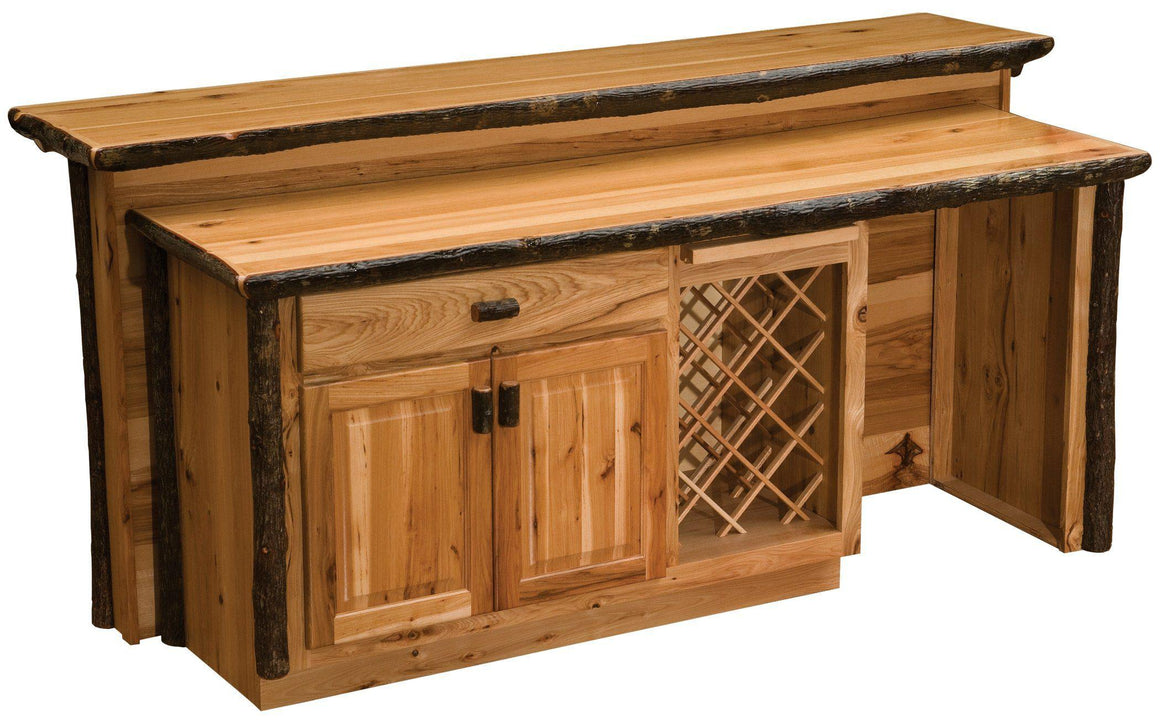 Hickory Log Home Bar - 92 inches -Cabin - Western - Liquid Glass Finish-Rustic Deco Incorporated