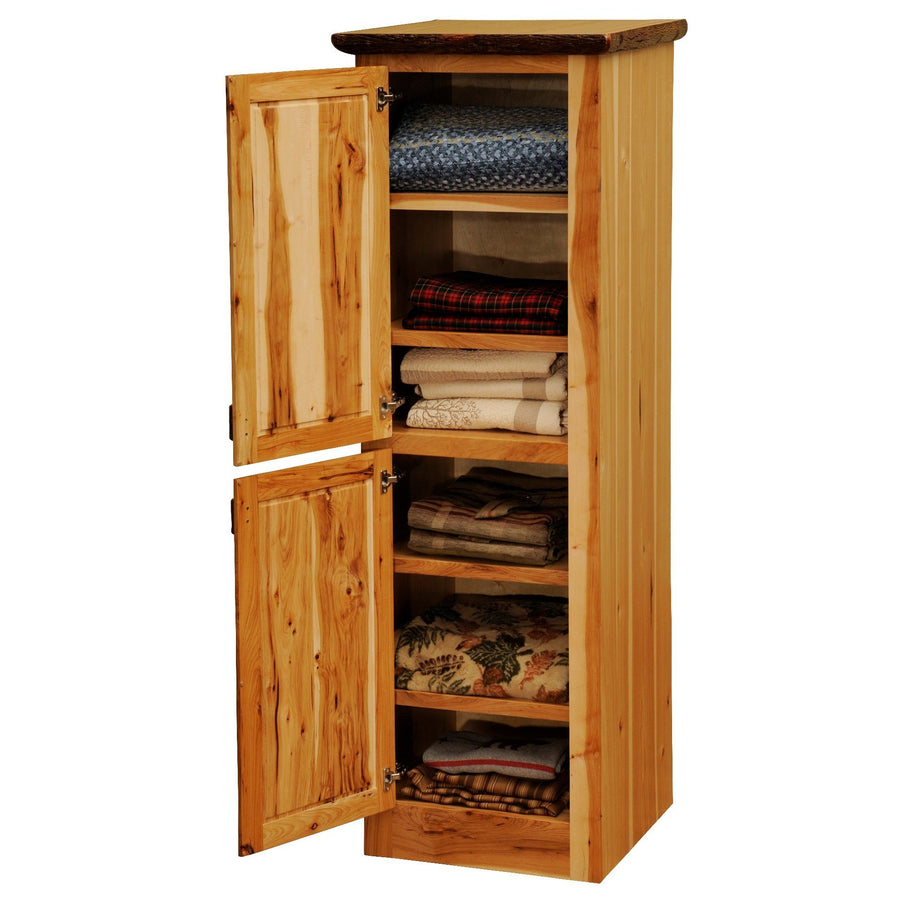 Hickory Log Linen Cabinet - 18-24-inch - Hinge Left - Two Single Doors - Rustic Deco Incorporated