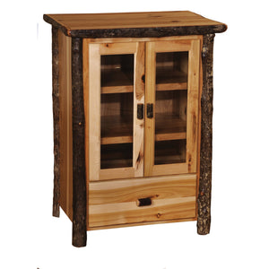 Authentic Hickory Log Media Cabinet - Handcrafted USA in Euro Style - Rustic Deco Incorporated