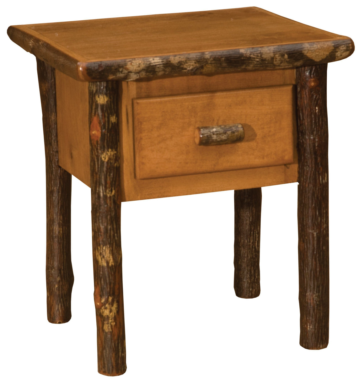 Hickory Log One Drawer End Side Accent Table - Authentic Custom USA-Rustic Deco Incorporated