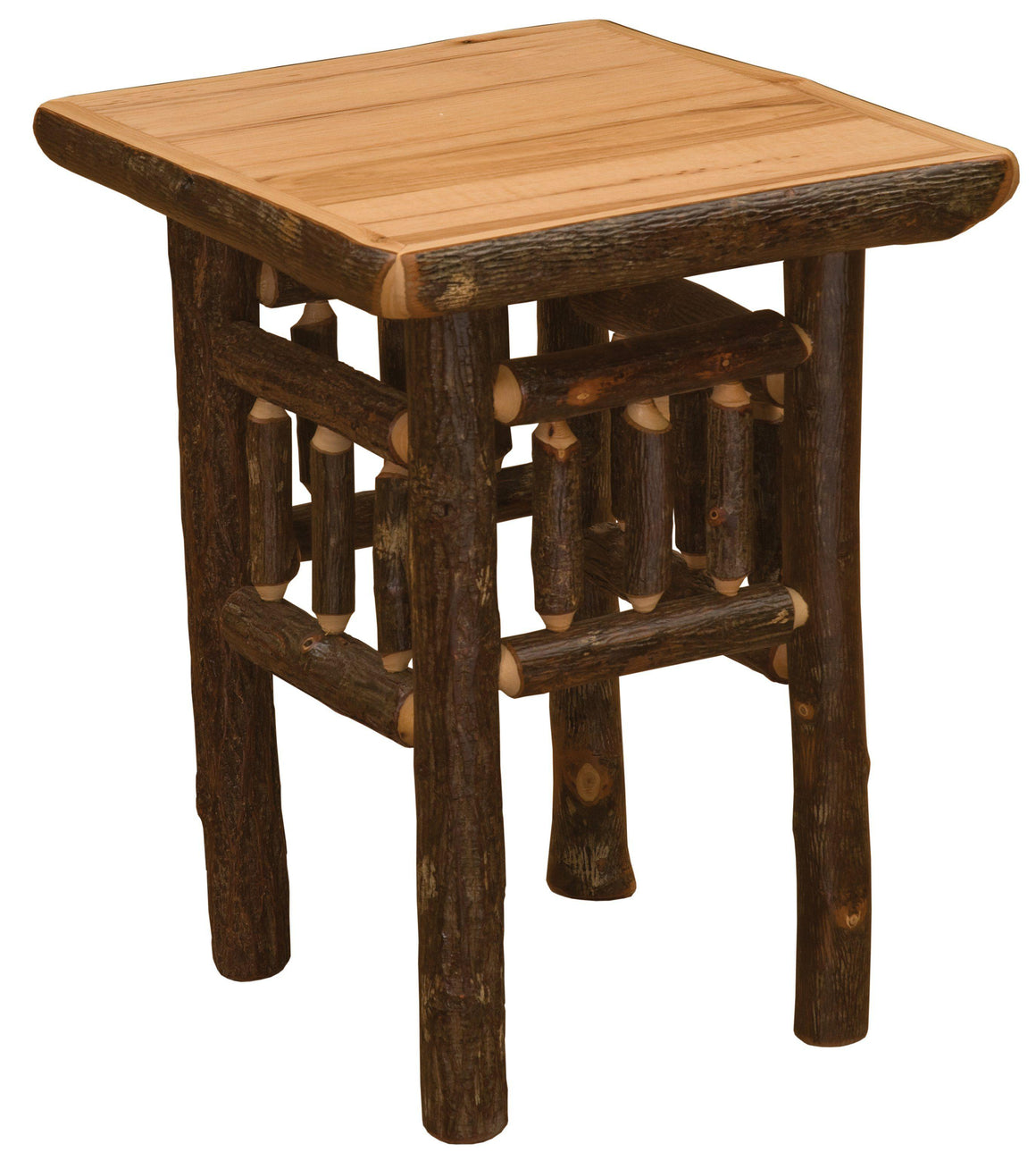 Hickory Log Open End Table - Standard Finish - Rustic Deco Incorporated