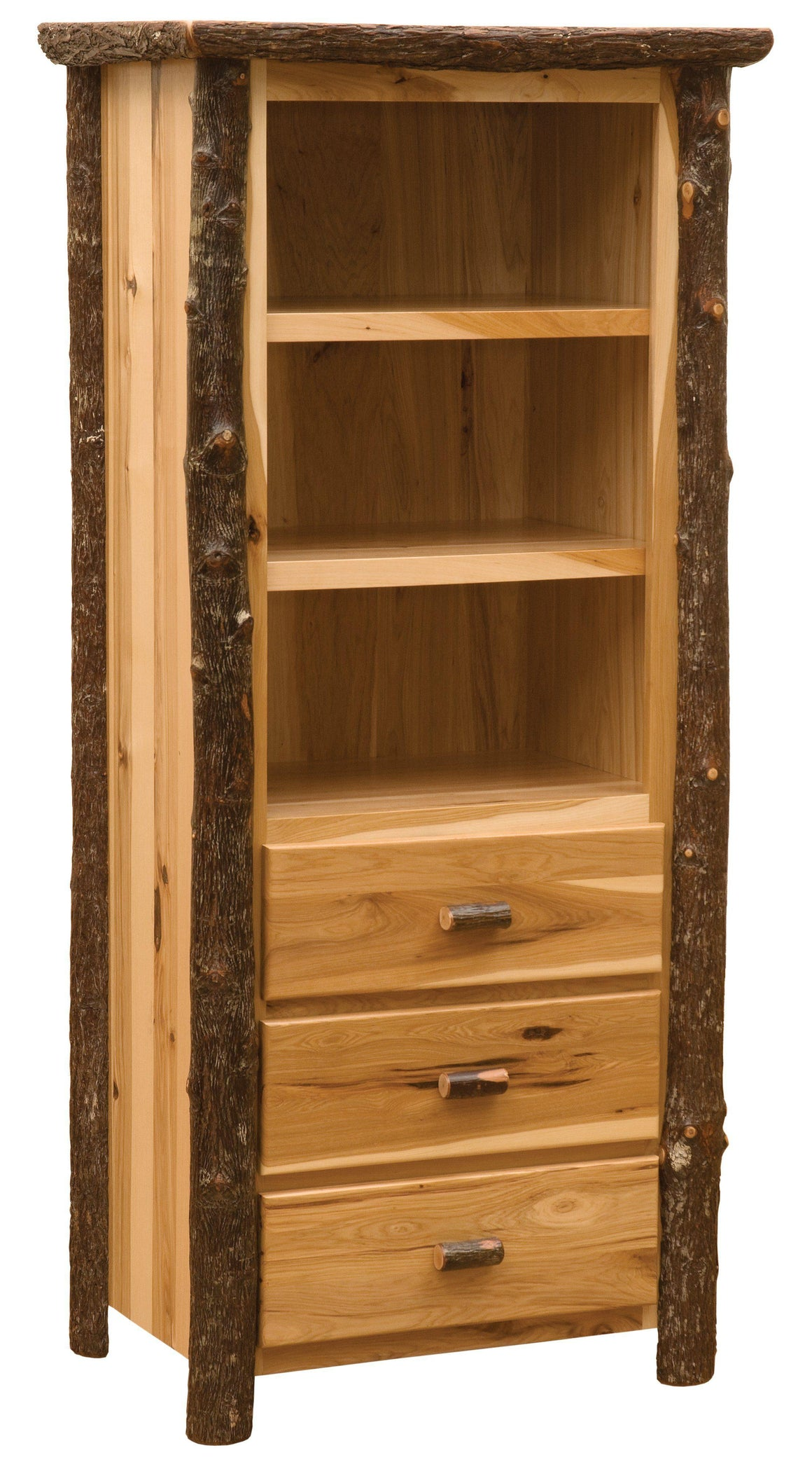 Hickory Log Open Pantry - Standard Finish - Rustic Deco Incorporated