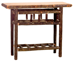 Hickory Log Sofa Table with Shelf - Bark On Tree Logs - Custom USA - Rustic Deco Incorporated